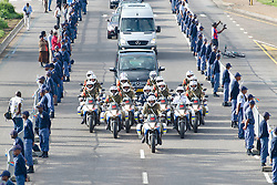 The guard of honour lined almost all the way from 1 Military Hospital to the Union Buildings in Pretoria where former President Nelson Mandela's body is lying in state.His body will be in state for 3 days. Mandela was the first democratically elected president of South Africa, South AfricaThursday, 12th December 2013. Picture by Roger Sedres / i-Images