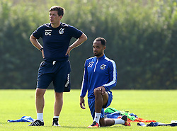 Darrell Clarke manager of Bristol Rovers and Byron Moore of Bristol Rovers during training - Mandatory by-line: Robbie Stephenson/JMP - 15/09/2016 - FOOTBALL - The Lawns Training Ground - Bristol, England - Bristol Rovers Training