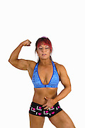 Female Bodybuilder showing off her muscles