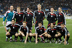 MARSEILLE, FRANCE - Tuesday, December 11, 2007: Liverpool's players line-up before the final UEFA Champions League Group A match against Olympique de Marseille at the Stade Velodrome. Back row L-R: goalkeeper Jose Pepe Reina, Dirk Kuyt, Jamie Carragher, Sami Hyypia, Harry Kewell, Fernando Torres, front row L-R: Alvaro Arbeloa, John Arne Riise, captain Steven Gerrard MBE, Yossi Benayoun and Javier Mascherano. (Photo by David Rawcliffe/Propaganda)