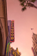 Image of the neon Hollywood sign on Hollywood Boulevard, Los Angeles, California