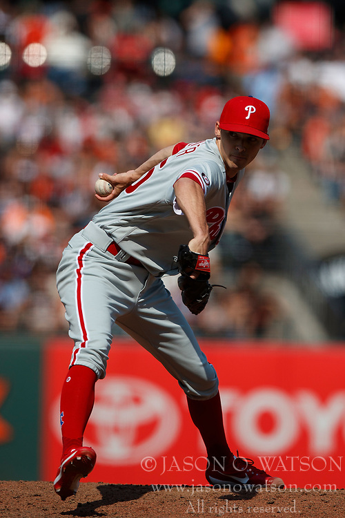 SAN FRANCISCO, CA - AUGUST 20: Hoby Milner #55 of the Philadelphia Phillies pitches against the San Francisco Giants during the eighth inning at AT&T Park on August 20, 2017 in San Francisco, California. The Philadelphia Phillies defeated the San Francisco Giants 5-2. (Photo by Jason O. Watson/Getty Images) *** Local Caption *** Hoby Milner