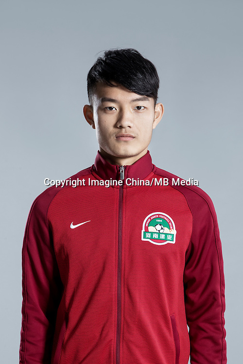 Portrait of Chinese soccer player Zhong Jinbao of Henan Jianye F.C. for the 2017 Chinese Football Association Super League, in Zhengzhou city, central China's Henan province, 19 February 2017.