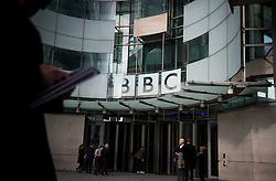 © Licensed to London News Pictures. 25/02/2016. London, UK. The front entrance to BBC Broadcasting House in London where a report in to abuse by DJ Jimmy Savile has been released. The Dame Janet Smith review found that the BBC repeatedly failed to stop abuse by DJ Jimmy Savile and broadcaster Stuart Hall. Photo credit: Ben Cawthra/LNP