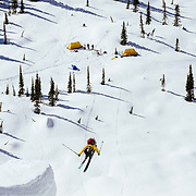 Andy Mahre 360 spinning his way back to basecamp in Glacier National Park.
