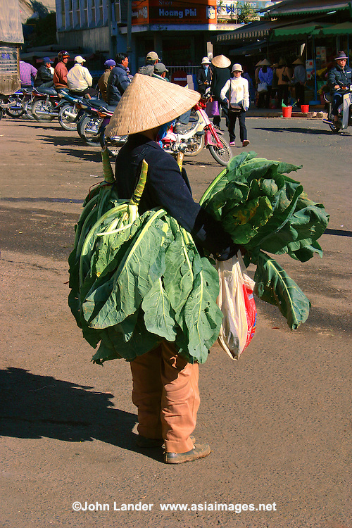 Dalat is known for its fresh flowers and produce, especially cauliflower, artichokes and strawberries. This vendor is displaying her fresh greens by wearing them outside the Dalat Market.