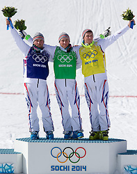 20-02-2014 SKIEN: OLYMPIC GAMES: SOTSJI<br /> (L-R) silver Medalist Arnaud Bovolenta of France, olympic Champion Jean Frederic Chapuis of France, bronze Medalist Jonathan Midol of France during Flower Ceremony of the Mens Ski Cross of the Olympic Winter Games Sochi 2014<br /> ***NETHERLANDS ONLY***<br /> ©2014-FotoHoogendoorn.nl