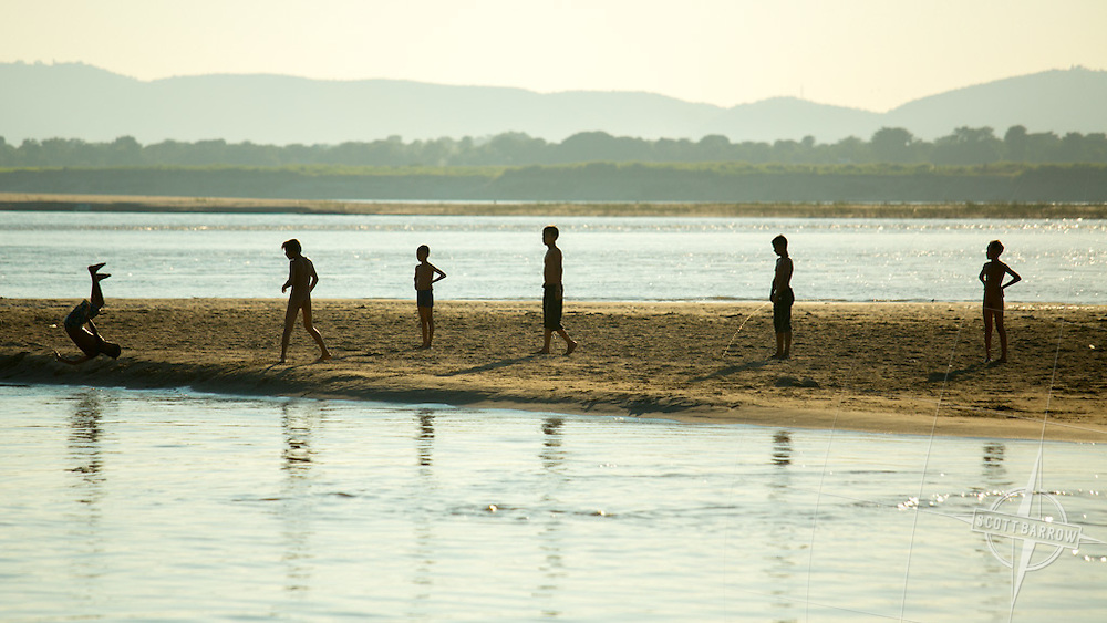 Boys playing in the Irrawaddy River, Myanmar.