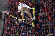 Poland, Wisla Malinka - 2017 November 19: Robert Kranjec from Slovenia soars through the air while Men's Individual HS134 competition during FIS Ski Jumping World Cup Wisla 2017/2018 - Day 3 at jumping hill of Adam Malysz on November 19, 2017 in Wisla Malinka, Poland.<br /> <br /> Mandatory credit:<br /> Photo by © Adam Nurkiewicz<br /> <br /> Adam Nurkiewicz declares that he has no rights to the image of people at the photographs of his authorship.<br /> <br /> Picture also available in RAW (NEF) or TIFF format on special request.<br /> <br /> Any editorial, commercial or promotional use requires written permission from the author of image.
