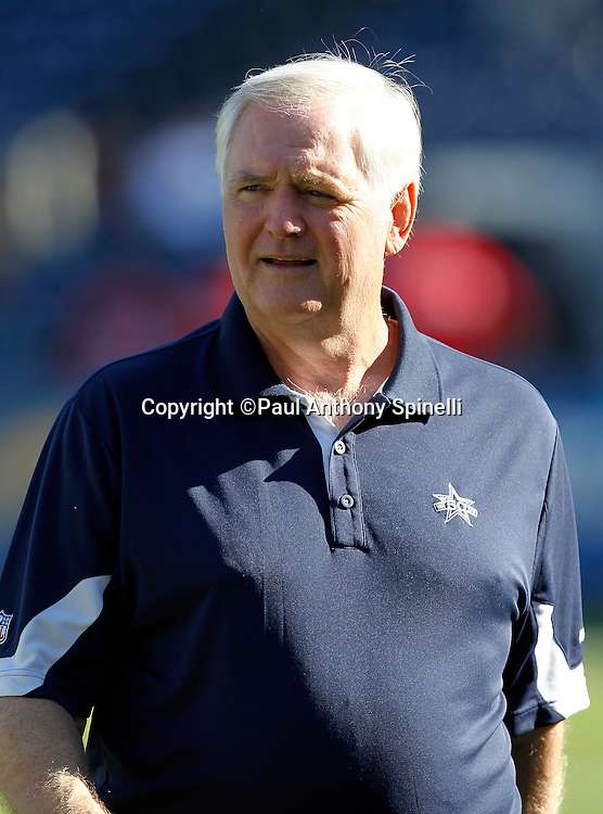 Dallas Cowboys Head Coach Wade Phillips looks on during pregame warmups at a NFL week 2 preseason football game against the San Diego Chargers on Saturday, August 21, 2010 in San Diego, California. The Cowboys won the game 16-14. (©Paul Anthony Spinelli)