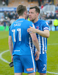 Hartlepool's Rhys Oates and Carl Magnay react after the final whistle