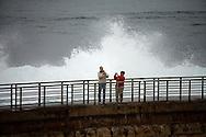Tourists enjoy Children's Beach in La Jolla, California