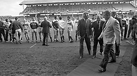 Ireland V Australia in an International Rules Football Series before the match An Taoiseach Charles Haughey and Australian Prime Minister Robert Hawke meet the teams in Croke Park, 18/10/1987 (Part of the Independent Newspapers Ireland,NLI Collection).