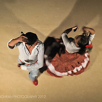 Two Spanish dancers perform at a wedding in Barcelona, Spain.