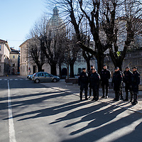 Como, Italy - 9 December 2017: Police officers outside Palace Hotel during a press conference by Roberto Fiore, Italy's neo-fascist Forza Nuova leader. Italy's Democrats led a rally at the same time a few hundreds meters away to warn about a comeback of fascist movements in the country.
