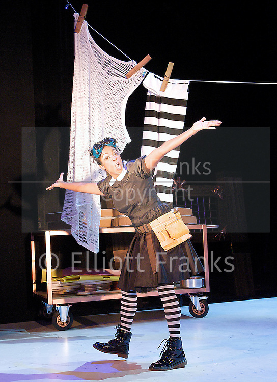 Jack and the Beanstalk<br /> by Paul Sirett<br /> music by Wayne Nunes &amp; Perry Melius<br /> directed by Dawn Reid <br /> at The Theatre Royal Stratford East, London, Great Britain <br /> press photocall<br /> 10th December 2012<br /> <br /> Jorell Coiffic-Kamall as jack<br /> Vlach Ashton as Dizzy<br /> Oliver Taheri as Biz<br /> Jack Shalloo as Boz<br /> Gemma Salter as Lucy <br /> Michael Bertenshaw as Mrs Trott<br /> Windson Liong as Mr Fleece<br /> gabriel Akuwudike and Suhaiyla Hippolyte - villagers<br /> Susan Lawson-Reynolds as Mrs Porridge<br /> Allyson Ava-Brown as Harpo <br /> Shelley Williams as Henrietta<br />  <br /> <br /> <br /> Photograph by Elliott Franks