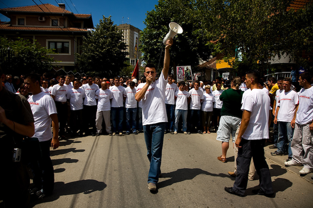 """Staging of a Vetvendosje (""""Self-Determination"""", in Albanian) protest. Getting the group in line before starting the march, yelling of slogans...Pristina, Kosovo, Serbia."""