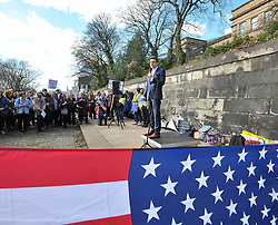 Pictured: Labour MP Daniel Johnson MSP addressed the crowd.<br /> <br /> Protesters demonstrated outside the US Consulate in Edinburgh in support of the 'March for our Lives' movement in America, calling for gun control in the wake of recent high school shootings. Protesters were joined by relatives of victims of the Dunblane shooting.<br /> <br /> © Dave Johnston / EEm