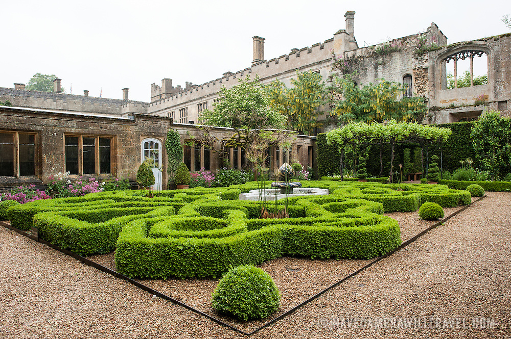 Some of the intricately patterned gardens at Sudeley Castle. Sudeley Castle dates back to the 15th century, although an even older castle might have once been on the same site. It was the final home and burial place of King Henry VIII's last wife, Queen Catherine Parr (c. 1512-1548).