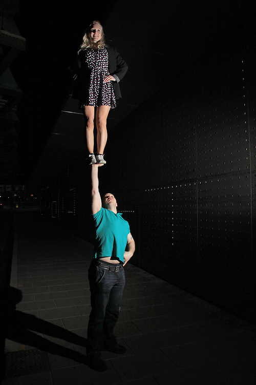 artistic cheerleading single based partner stunt cupie / awesome