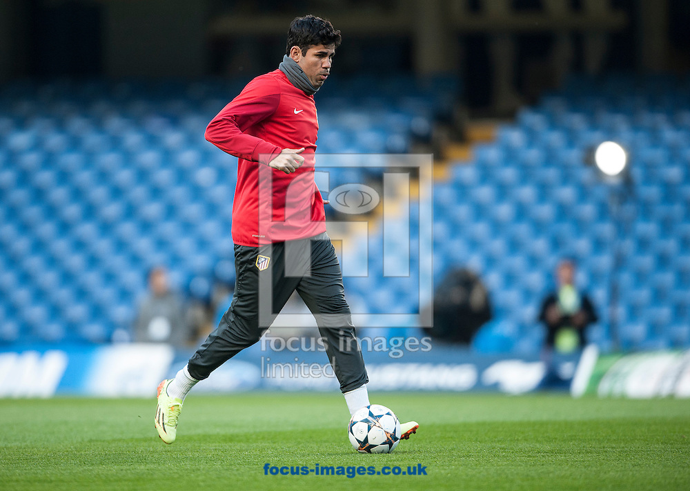 Atletico Madrid's Diego Costa during training at Stamford Bridge, London ahead of their UEFA Champions League semi final second leg against Chelsea.<br /> Picture by Daniel Hambury/Focus Images Ltd +44 7813 022858<br /> 29/04/2014