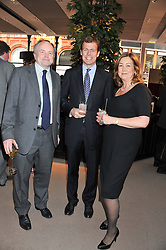 Left to right, CLIVE ANDERSON President of The Woodland Trust, PADDY BYNG MD of Asprey and NICOLA NICHOLLS chairman of The Woodland Trust at the unveiling of 'The Diamond Queen' a collaboration between Asprey and artist Chris Levine in aid of The Woodland Trust, held at Asprey, 167 New Bond Street, London on 28th May 2012.