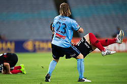 December 15, 2018 - Sydney, NSW, U.S. - SYDNEY, NSW - DECEMBER 15: Sydney FC defender Rhyan Grant (23) and Western Sydney Wanderers midfielder Alexander Baumjohann (10) come together at the Hyundai A-League Round 8 soccer match between Western Sydney Wanderers FC and Sydney FC at ANZ Stadium in NSW, Australia on December 15, 2018. (Photo by Speed Media/Icon Sportswire) (Credit Image: © Speed Media/Icon SMI via ZUMA Press)