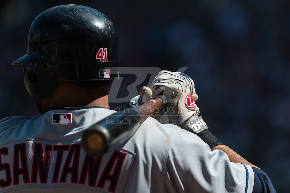 Cleveland Indians DH Carlos Santana waits on-deck during a game against the Minnesota Twins at Target Field in Minneapolis, Minnesota on July 29, 2012.  The Twins defeated the Indians 5 to 1.  © 2012 Ben Krause