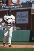 San Francisco Giants shortstop Eduardo Nunez (10) celebrates a hit against the Los Angeles Dodgers at AT&T Park in San Francisco, California, on April 27, 2017. (Stan Olszewski/Special to S.F. Examiner)