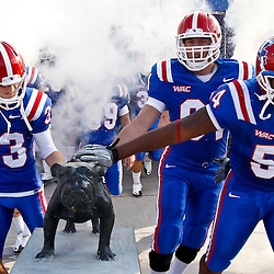 December 4, 2010; Ruston, LA, USA;  Louisiana Tech Bulldogs players touch the Spirit of 88 bulldog statue during introductions prior to kickoff of a game against the Nevada Wolf Pack at Joe Aillet Stadium.  Mandatory Credit: Derick E. Hingle