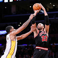 09 February 2014: Chicago Bulls power forward Taj Gibson (22) takes a jumpshot over Los Angeles Lakers power forward Shawne Williams (3) during the Chicago Bulls 92-86 victory over the Los Angeles Lakers at the Staples Center, Los Angeles, California, USA.