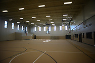 An indoor gymnasium is seen during a media members tour the newest prison in Pennsylvania Friday, September 01, 2017 at State Correction Institution Phoenix in Skippack, Pennsylvania. The facility is inching closer to opening, two years late, to replace Graterford Prison at a cost of $400 million. (Photo by William Thomas Cain/CAIN IMAGES)