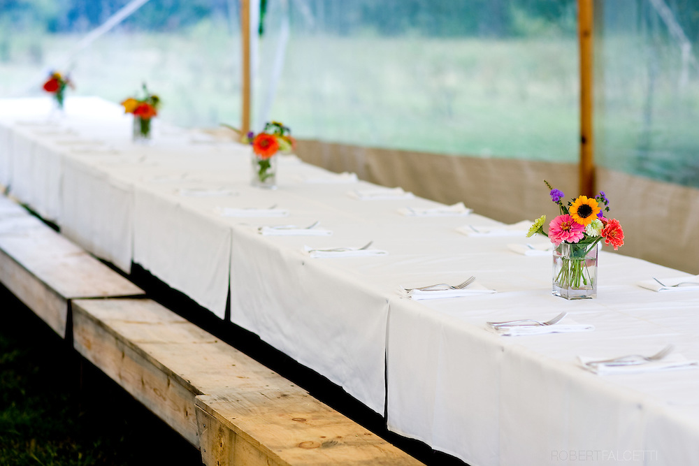 SOUTH GLASTONBURY, CONNECTICUT-10 September 2009-- Tables in the dining tent await guests for the seven courses that were served during the Dinners at the Farm event held at Old Maids Farm in South Glastonbury, Connecticut. The dinner, hosted by farm owner George Purtill, was a benefit for Working Lands Alliance. (Photo by Robert Falcetti)