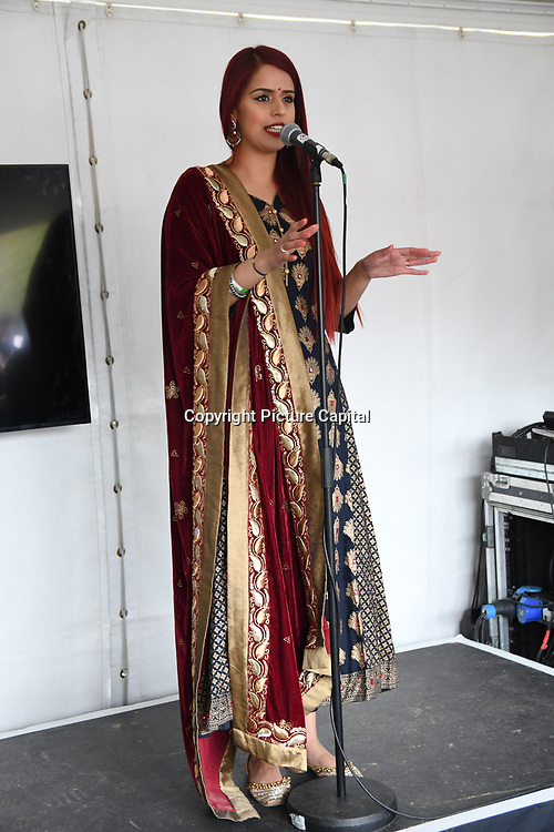 London, England, UK. 27 April 2019. Jaspreet Hothi preforms Spoken word at the Vaisakhi Festival is a Sikh New Year in Trafalgar Square, London, UK.