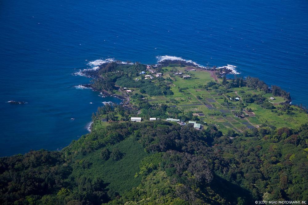 Aerial view of Keanae Peninsula, with taro fields and coastline, Maui, Hawaii