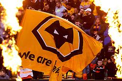 Wolverhampton Wanderers flag in-between flames - Mandatory by-line: Robbie Stephenson/JMP - 24/04/2019 - FOOTBALL - Molineux - Wolverhampton, England - Wolverhampton Wanderers v Arsenal - Premier League
