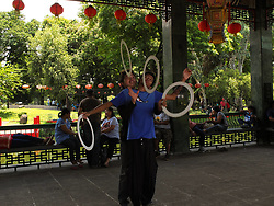 June 12, 2017 - Manila, Philippines - Rain Tan and Angelo Atutubo, perform the five rings routine at the Chinese Garden Rizal Park, Manila. (Credit Image: © Josefiel Rivera/Pacific Press via ZUMA Wire)