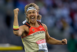 Steffi Nerius of Germany celebrates winning the gold medal in the women's Javelin Throw Final during day four of the 12th IAAF World Athletics Championships at the Olympic Stadium on August 18, 2009 in Berlin, Germany. (Photo by Vid Ponikvar / Sportida)