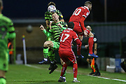 Forest Green Rovers Nathan McGinley(19) heads the ball during the EFL Sky Bet League 2 match between Forest Green Rovers and Scunthorpe United at the New Lawn, Forest Green, United Kingdom on 7 December 2019.