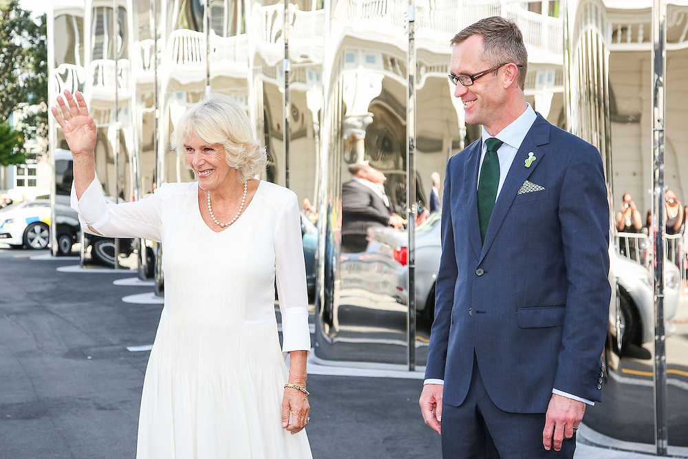 Camilla, Duchess of Cornwall is greeted by Director of Govett-Brewster Gallery and Len Lye Centre, Simon Rees, during a visit to the Len Lye Centre, New Plymouth, New Zealand, New Zealand, Monday, November 09, 2015. Credit:SNPA / Getty, Hagen Hopkins  **POOL**