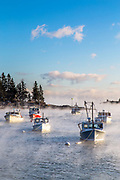 A collection of lobster boats fills Owls Head Harbor on a particularly cold, -15F, morning.
