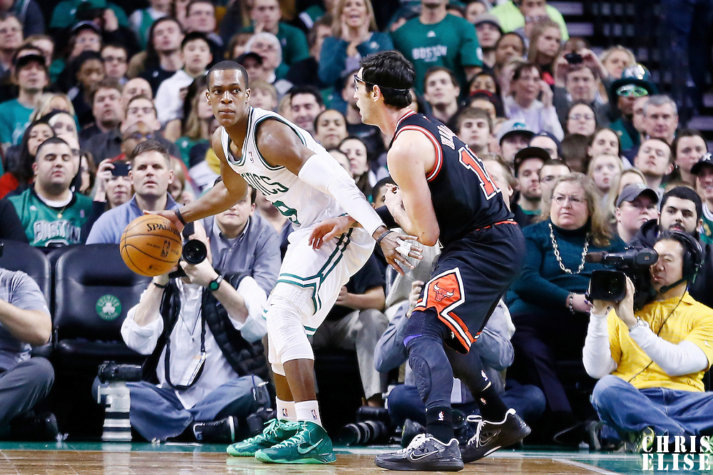 18 January 2013: Boston Celtics point guard Rajon Rondo (9) posts up Chicago Bulls shooting guard Kirk Hinrich (12) during the Chicago Bulls 100-99 overtime victory over the Boston Celtics at the TD Garden, Boston, Massachusetts, USA.