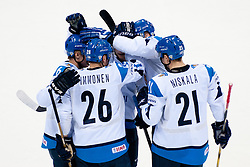 Team Finland celebrate goal during ice-hockey match between Latvia and Finland of Group D of IIHF 2011 World Championship Slovakia, on May 2, 2011 in Orange Arena, Bratislava, Slovakia. (Photo by Matic Klansek Velej / Sportida)