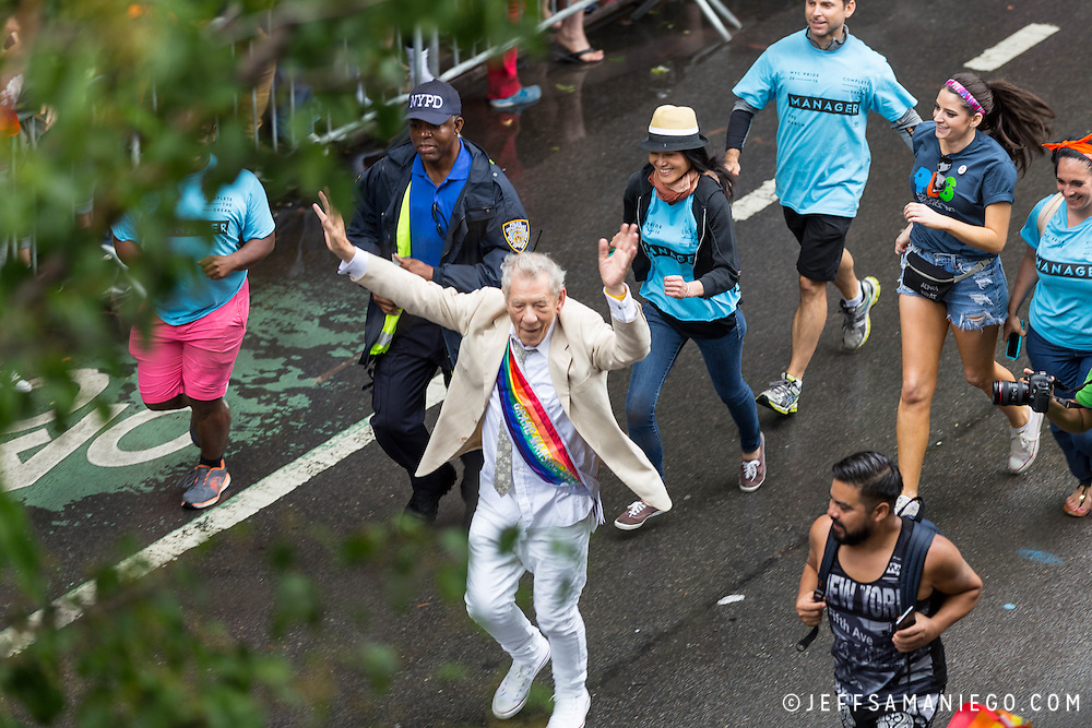 New York LGBT Pride Parade 2015, corner of Christopher Street and Gay Street, West Village Ian Mckellen
