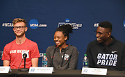 Josh Kerr of New Mexico (left), Keturah Orji of Gerogia (center) and Grant Holloway of Georgia during a press conference prior to the NCAA Track and Field Championships in College Station, Texas on Thursday, March 8, 2018.