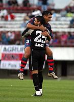 Fotball<br />Argentina<br />19/10/03 RIVER PLATE  (1 ) Vs. SAN LORENZO  (2 ) Football - Argentina<br />Tenth match of the Torneo Apertura 2003<br />MOREL RODRIGUEZ and  RAMIREZ (San Lorenzo) are celebrating a goal<br />Foto: Digitalsport