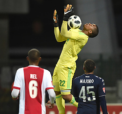 Cape Town-180411 Ajax Cape Town goalkeeper jody February collects a high ball in their game against  Wits  in a PSL match played at Athlone stadium.photographer:Phando Jikelo/African News Agency/ANA