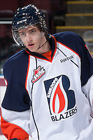 KELOWNA, CANADA - NOVEMBER 30: Nick Chyzowski  #16 of the Kamloops Blazers warms up against the Kelowna Rockets on November 30, 2013 at Prospera Place in Kelowna, British Columbia, Canada.   (Photo by Marissa Baecker/Shoot the Breeze)  ***  Local Caption  ***
