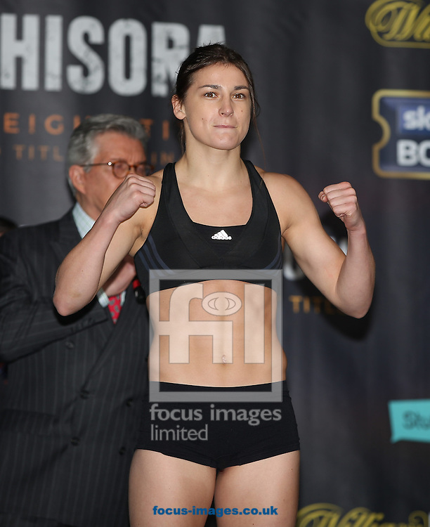 Katie Taylor during the weigh in for the Joshua v Molina IBF Heavyweight title fight at Victoria Warehouse, Manchester<br /> Picture by James Wilson/Focus Images Ltd 07709 548263<br /> 09/12/2016