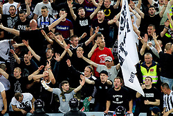 Fans of Partizan during final match of Basketball NLB League at Final four tournament between KK Union Olimpija (SLO) and Partizan Belgrade (SRB), on April 21, 2011 in Arena Stozice, Ljubljana, Slovenia.  (Photo By Vid Ponikvar / Sportida.com)